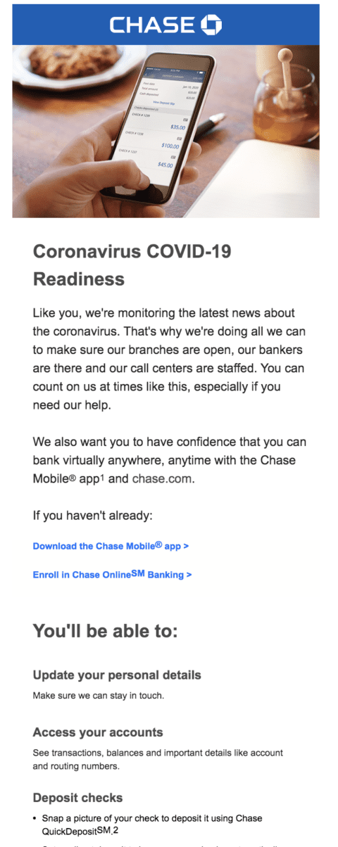 Chase covid email